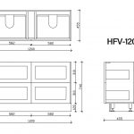 Hampton free standing vanity 1200mm drawing
