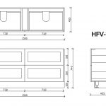 Hampton free standing vanity 1500mm drawing