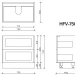 Hampton free standing vanity 750mm drawing